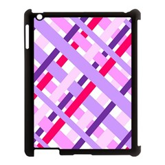 Diagonal Gingham Geometric Apple iPad 3/4 Case (Black)