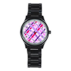 Diagonal Gingham Geometric Stainless Steel Round Watch