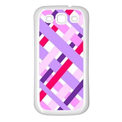 Diagonal Gingham Geometric Samsung Galaxy S3 Back Case (White)