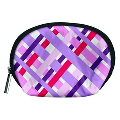 Diagonal Gingham Geometric Accessory Pouches (Medium)