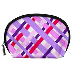 Diagonal Gingham Geometric Accessory Pouches (Large)