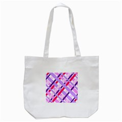 Diagonal Gingham Geometric Tote Bag (White)