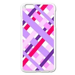 Diagonal Gingham Geometric Apple iPhone 6 Plus/6S Plus Enamel White Case
