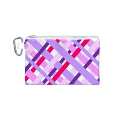 Diagonal Gingham Geometric Canvas Cosmetic Bag (S)