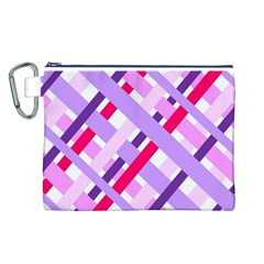 Diagonal Gingham Geometric Canvas Cosmetic Bag (L)