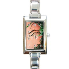 Background Stone Wall Pink Tree Rectangle Italian Charm Watch