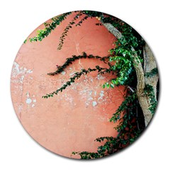 Background Stone Wall Pink Tree Round Mousepads