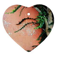 Background Stone Wall Pink Tree Ornament (Heart)
