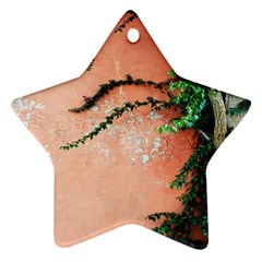Background Stone Wall Pink Tree Ornament (Star)