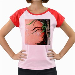 Background Stone Wall Pink Tree Women s Cap Sleeve T-Shirt
