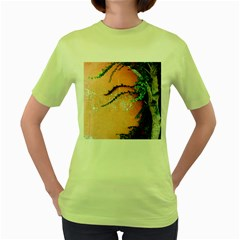 Background Stone Wall Pink Tree Women s Green T-Shirt