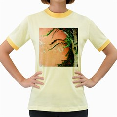 Background Stone Wall Pink Tree Women s Fitted Ringer T-Shirts