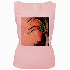 Background Stone Wall Pink Tree Women s Pink Tank Top
