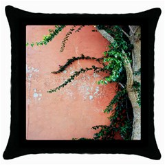 Background Stone Wall Pink Tree Throw Pillow Case (Black)