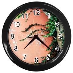 Background Stone Wall Pink Tree Wall Clocks (Black)
