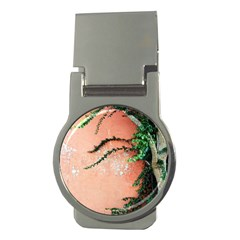 Background Stone Wall Pink Tree Money Clips (Round)
