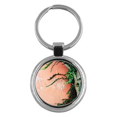Background Stone Wall Pink Tree Key Chains (Round)