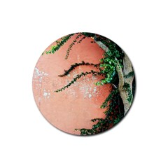 Background Stone Wall Pink Tree Rubber Coaster (Round)