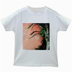 Background Stone Wall Pink Tree Kids White T-Shirts