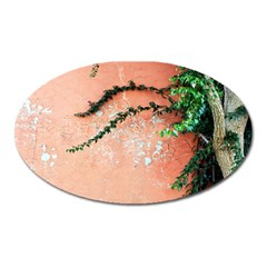 Background Stone Wall Pink Tree Oval Magnet