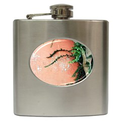 Background Stone Wall Pink Tree Hip Flask (6 oz)