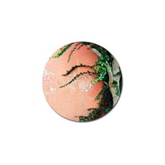 Background Stone Wall Pink Tree Golf Ball Marker (4 pack)