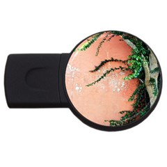 Background Stone Wall Pink Tree USB Flash Drive Round (2 GB)