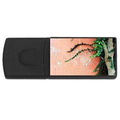 Background Stone Wall Pink Tree USB Flash Drive Rectangular (1 GB)