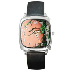 Background Stone Wall Pink Tree Square Metal Watch
