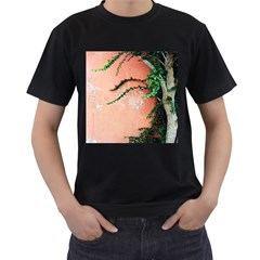 Background Stone Wall Pink Tree Men s T-Shirt (Black) (Two Sided)