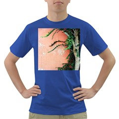 Background Stone Wall Pink Tree Dark T-Shirt