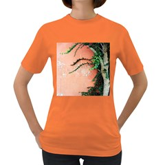 Background Stone Wall Pink Tree Women s Dark T-Shirt