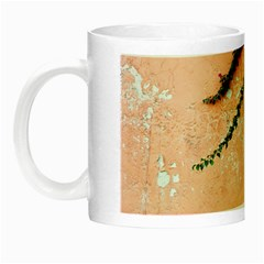 Background Stone Wall Pink Tree Night Luminous Mugs