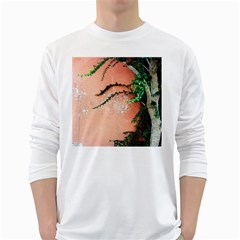 Background Stone Wall Pink Tree White Long Sleeve T-Shirts