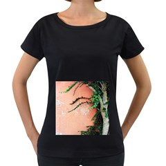 Background Stone Wall Pink Tree Women s Loose-Fit T-Shirt (Black)