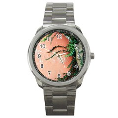 Background Stone Wall Pink Tree Sport Metal Watch