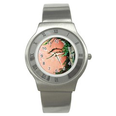 Background Stone Wall Pink Tree Stainless Steel Watch