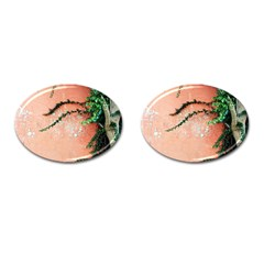 Background Stone Wall Pink Tree Cufflinks (Oval)