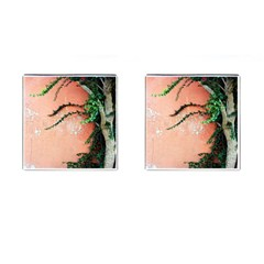 Background Stone Wall Pink Tree Cufflinks (Square)