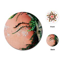 Background Stone Wall Pink Tree Playing Cards (Round)