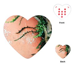 Background Stone Wall Pink Tree Playing Cards (Heart)