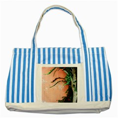 Background Stone Wall Pink Tree Striped Blue Tote Bag