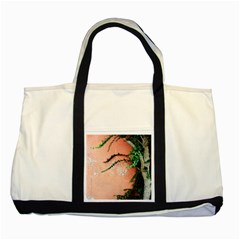 Background Stone Wall Pink Tree Two Tone Tote Bag