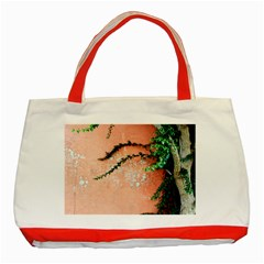 Background Stone Wall Pink Tree Classic Tote Bag (Red)