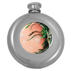 Background Stone Wall Pink Tree Round Hip Flask (5 oz)