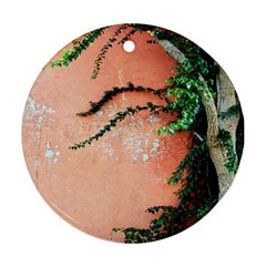 Background Stone Wall Pink Tree Round Ornament (Two Sides)