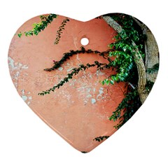 Background Stone Wall Pink Tree Heart Ornament (2 Sides)