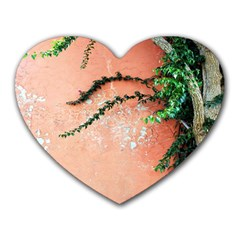 Background Stone Wall Pink Tree Heart Mousepads