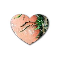 Background Stone Wall Pink Tree Rubber Coaster (Heart)