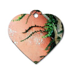Background Stone Wall Pink Tree Dog Tag Heart (One Side)